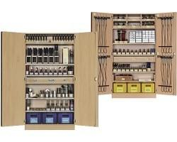 Workshop cabinets with tools