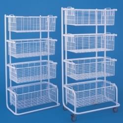 Shelves with hospital baskets
