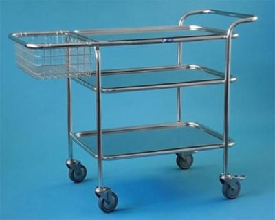 Multi-purpose hospital trolley , stainless steel frame, small, stainless steel basket