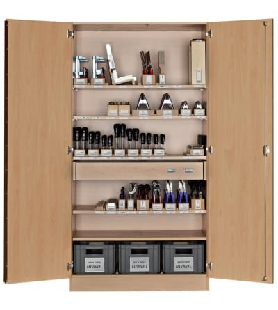 Workshop cabinet with basic universal equipment - for 16 pupils