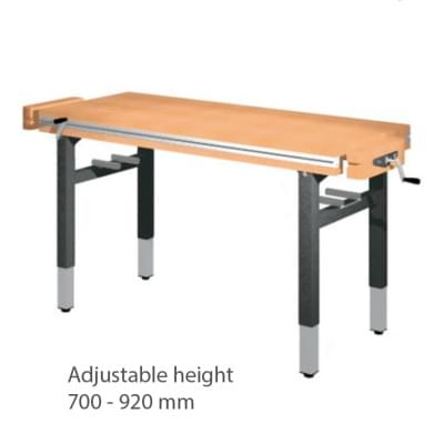 Workbench 1300 × 650 × 700 to 920 - height adjustable centrally handle, 2x vice carpenter frontally