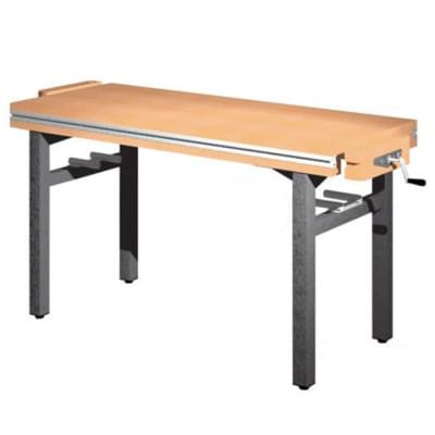Workbench 1500 × 650 × 800 - fixed height, 2 vice carpenter diagonally