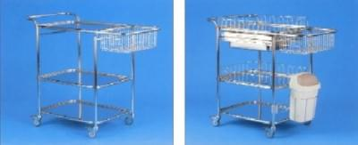 Multi-purpose hospital trolley with accessories, small, stainless steel frame and basket
