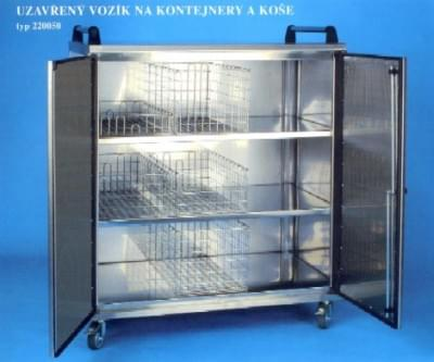 Enclosed trolley for containers and baskets