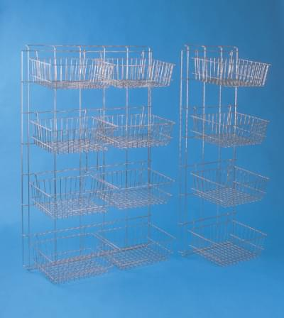 Storing stainless wall with 8 baskets 140 × 93 cm