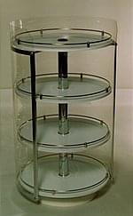 Rotating Rack Stands - small, round, 4-racks, with cap, rails - chrome-plated