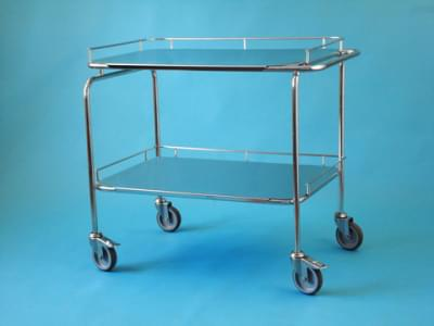 Trolley with one lowered handle and 2 trays, big, stainless steel frame