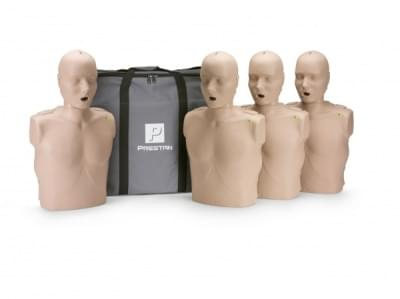 Professional Adult Medium Skin CPR-AED Training Manikin with CPR Monitor 4-Pack