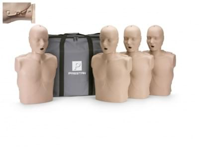 Professional Adult Jaw Thrust Medium Skin CPR-AED Training Manikin with CPR Monitor 4-Pack