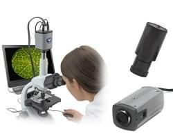 Video cameras for microscopes