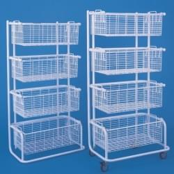 Shelves with hospital baskets