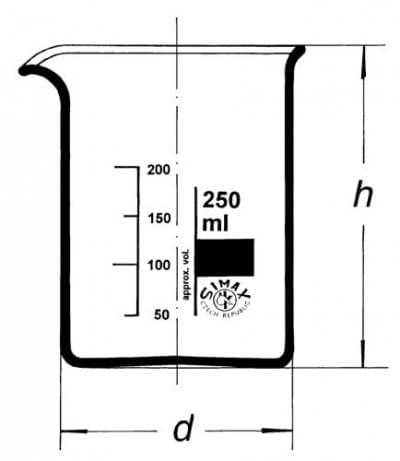 Beaker, low form, with spout, 250 ml