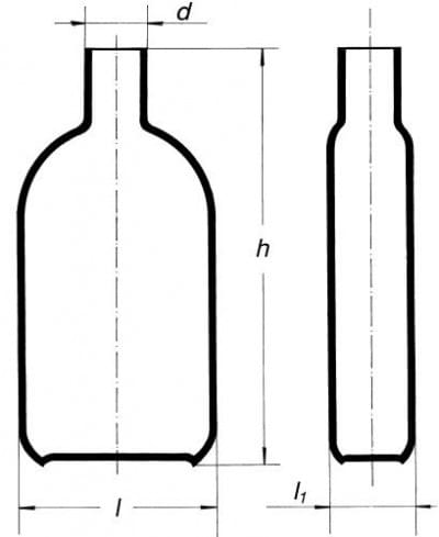 Bottle for cultures by Roux, with neck in the middle, 450 ml