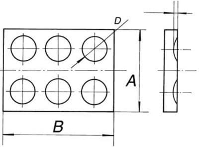 The plate with holes, 6 holes