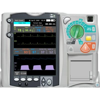 8000976 - Philips HeartStart MRx for Hospital Patient Monitor Screen Simulation for REALITi360