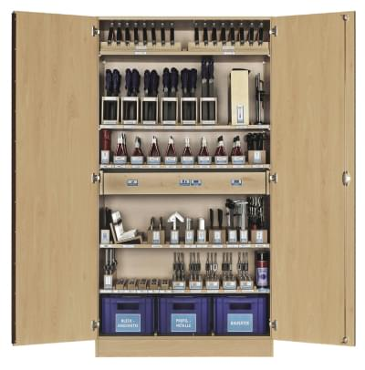 Workshop cabinet with basic equipment formetalworking - for 16 pupils