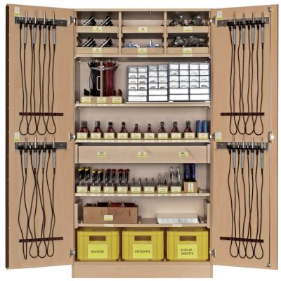 Workshop cabinet with basic equipment for work with electronic parts - for 16 pupils