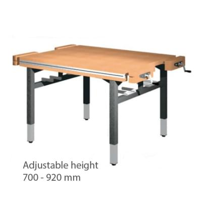 Workbench 1300 × 1100 × 700 to 920 - Height adjustable on 4 legs, 4x vise carpenter frontally