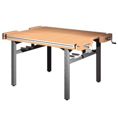 Univerzální dílenský stůl s pevnou výškou - 4× truhlářský svěrák - čelně