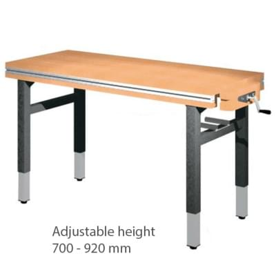 Workbench 1500 × 650 × 700 to 920 - Height adjustable on 4 legs, 1 vice carpenter