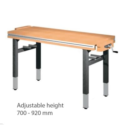 Workbench 1500 × 650 × 700 to 920 - Height adjustable on 4 legs, 2 vice carpenter diagonally
