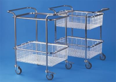 Trolley with top handles - small, stainless steel frame, with stainless steel basket and tray