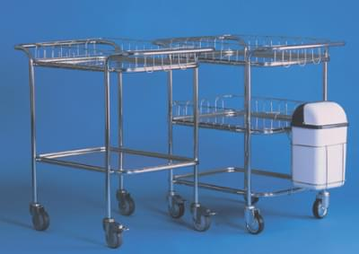 Trolley with top handles and 3 trays, 2 railings and waste container, small, stainless steel frame
