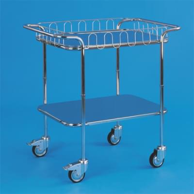 Trolley with top handles and 2 shelves