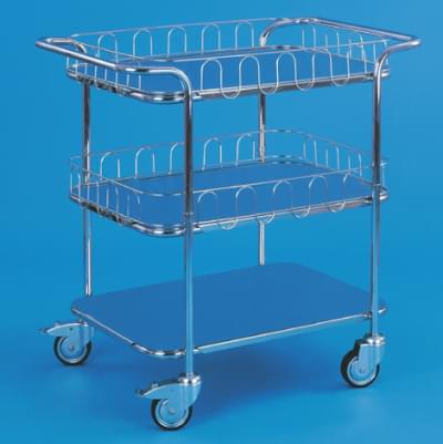 Trolley with top handles, 3 shelves and 3 railings