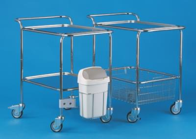 Trolley with top and lowered handles, basket and tray, small, stainless steel frame