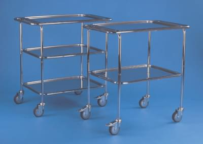 Trolley with lowered handles and 2 trays - small, stainless steel frame