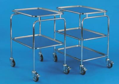 Trolley without handles, with 2 trays, small, stainless steel frame