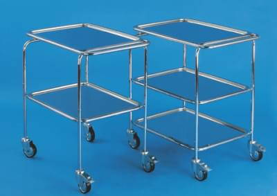 Trolley with one lowered handle, 2 trays, small, stainless steel frame