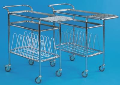 Hospital trolley for files and medicaments, with register, stainless steel frame