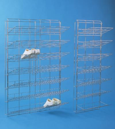 Storing wall from stainless steel for theatre shoes 140 × 93 cm