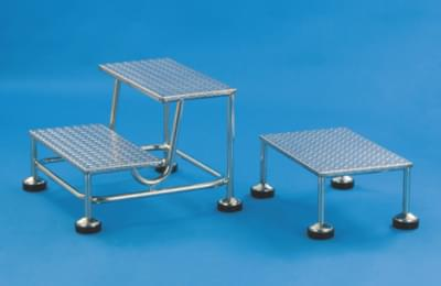 Rolling two-step ladder with stainless steps, height 2 × 20 cm
