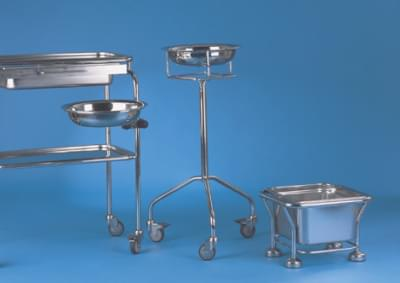Stainless stand with 17 cubic litre mobile throw off bin
