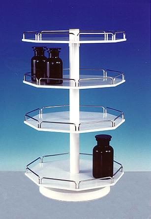 Rotating Rack Stands - small, octagonal, with centrally rotating 3-racks, rails - chrome-plated