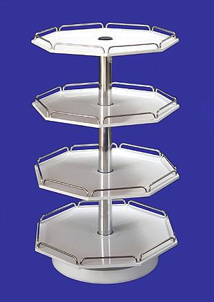Rotating Rack Stands - small, octagonal, with independently rotating 4-racks, rails - chrome-plated