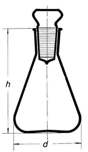 Baňka na stanovení jodového čísla se skleněnou zátkou