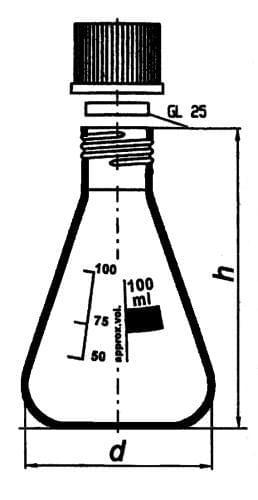 Baňka podle Erlenmeyera s GL závitem a šroubovým uzávěrem