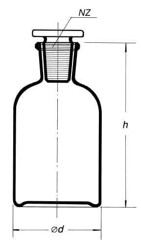 Láhev reagenční, úzkohrdlá se zabr. zátkou, hnědá, s NZ 14/15, 50 ml