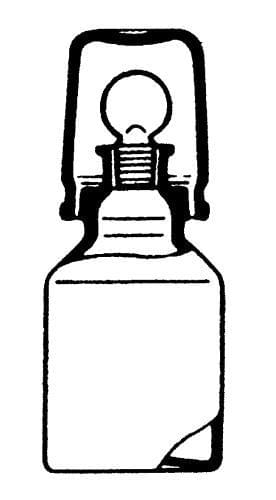 Bottle for acid, with ground-in stopper and ground-in cap, brown, 100 ml