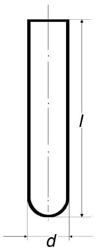 Test tube with round bottom, without rim