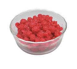 Raspberries in glass dish