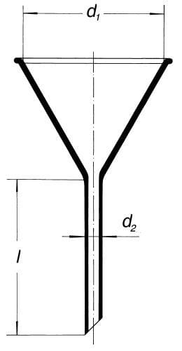 Funnel, plain, with short stem, angle 60°, acc. to ISO 4798, 125 mm