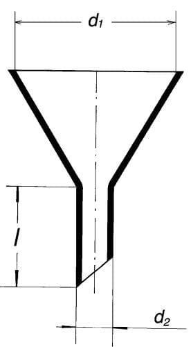 Hopper with short oblique end, 100 mm