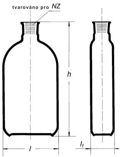 Bottle for cultures by Roux, with neck in the middle, SJ, 1000 ml