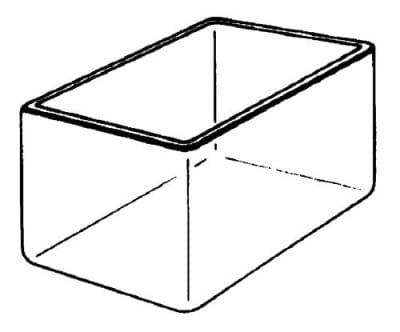 Bath glass, square, 100 × 100 × 200 mm