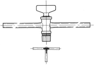 Cock three-way, marking 2, drilling 2,5 mm, shape T